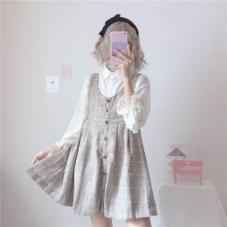 Honey Diary - 蕾絲襯衫 / 格子A字背帶連衣裙