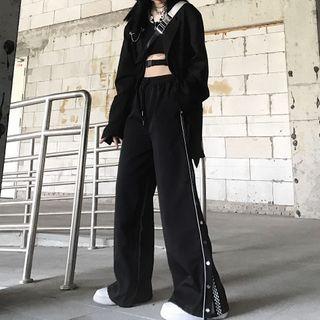 LINSI - 格纹拼接宽腿长裤