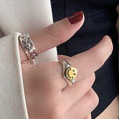 Korrs - Chain Open Ring / Smiley Signet Open Ring