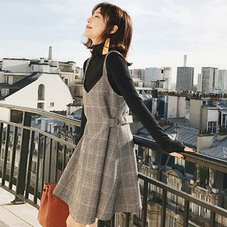 Superduper - Plaid A-Line Pinafore Dress