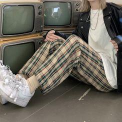 Maisee - Plaid Wide-Leg Pants