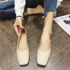 The Shoe House - Square-Toe Paneled Flats