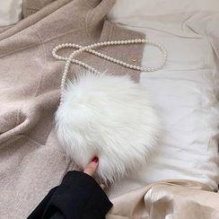 Miloes - Beaded Strap Furry Crossbody Bag