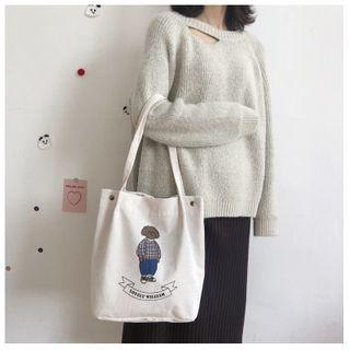 TangTangBags - Dog Embroidered Corduroy Tote Bag