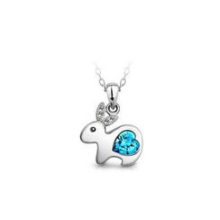 BELEC - Chinese Zodiac Rabbit Pendant with Blue Austrian Element Crystal and Necklace