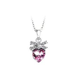 BELEC - Fashion Heart Pendant with Purple Austrian Element Crystal and Necklace