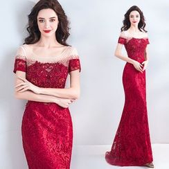 Caprice - Embroidered Off Shoulder Mermaid Evening Gown