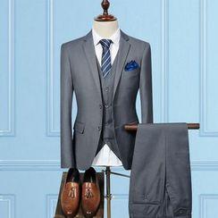 Blueforce - Set: Plain Blazer + Vest + Dress Pants