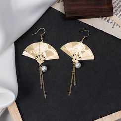 MUNGO - Faux Pearl Alloy Fan Dangle Earring