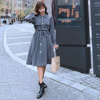 Jinyo - Long-Sleeve Plain Dress