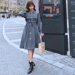 Jinyo - 长袖纯色连衣裙