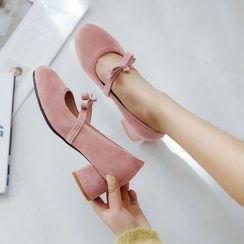 JY Shoes - Ribbon Chunky-Heel Mary Jane Pumps
