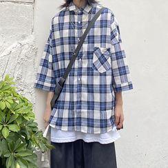 LINSI - Elbow-Sleeve Plaid Shirt