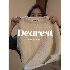 maybe-baby - Crewneck Cable-Knit Sweater