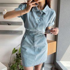 DABAGIRL - Denim Mini Shirtwaist Dress