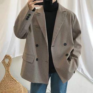 BORGO - 千鳥格雙排扣西裝外套