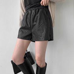 MERONGSHOP - Pocket-Side Faux-Leather Shorts