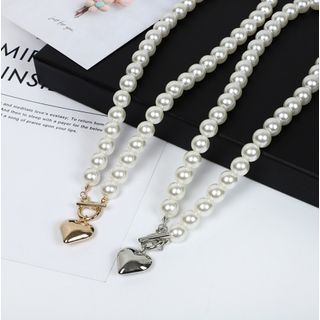 Gemsha - Faux Pearl Heart Charm Necklace