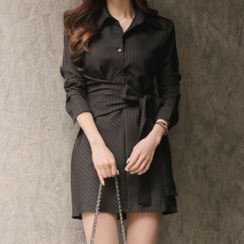 ISMY - 长袖条纹腰结带迷你衬衫连衣裙