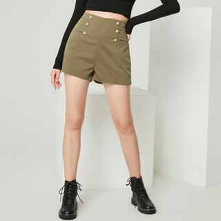 Pandaramma - Double-Breasted High-Waist Shorts