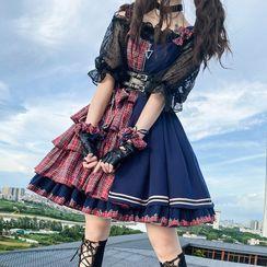 Lolita Smile - 短袖雙色格子荷葉蘿莉塔連衣裙 / 袖口 / 蝴蝶結頭箍 / 套裝