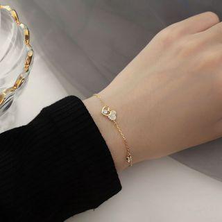 FOON - 925 Sterling Silver Rhinestone Heart Bracelet