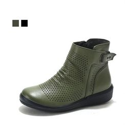MODELSIS - Genuine Leather Perforated Ankle Boots