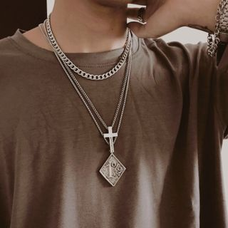 InShop Watches - Alloy Cross / Embossed Square / Necklace / Set