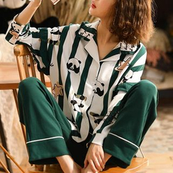 Jeony - Printed Long-Sleeve Pajama Set