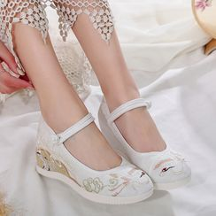 Kyotopia - Embroidered Frog-Button Wedge Heel Mary Jane Pumps