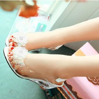 Freesia - Wedge-Heel Transparent Panel Sandals