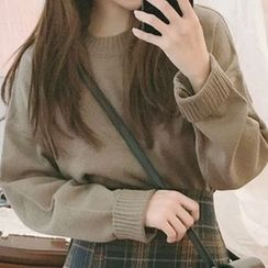 Leoom - Plain Long-Sleeve Knit Top