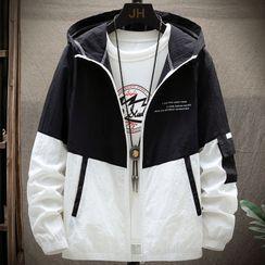 KOKAY - Two-Tone Hooded Zip Jacket