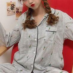 Essere - 家居服套裝: 長袖紅蘿蔔圖案條紋襯衫 + 長褲 + 睡眠眼罩