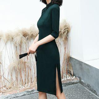 Luxury Style - 3/4-Sleeve Midi Qipao Dress