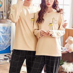 PJ Party - Couple Matching Pajama Set: Giraffe Print Long-Sleeve T-Shirt + Pants