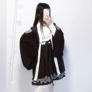 Tomoyo - Embroidered Kimono Jacket / Long-Sleeve A-Line Midi Dress