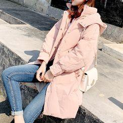 Romantica - Hooded Zip Long Padded Coat