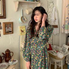 FROMBEGINNING - Button-Up Floral Long Dress