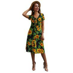 TRUMMENT - Short-Sleeve Floral Print Midi A-Line Dress