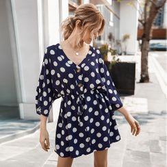 TRUMMENT - 3/4-Sleeve Dotted Mini A-Line Dress