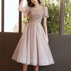 LEFFA - Short-Sleeve Sequined Mesh Midi A-Line Prom Dress