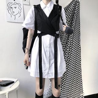 Malnia Home - Short Sleeve Plain Shirtdress / Strappy Vest