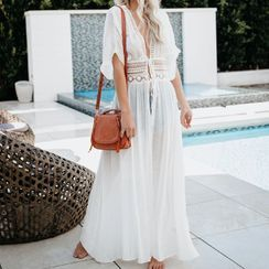 Mimomala - Embroidered Elbow-Sleeve Maxi Cover-Up