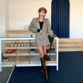 PPGIRL - Set: Cropped Checked Blazer + A-Line Miniskirt