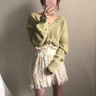Kolopara - V-Neck Pointelle Knit Cardigan