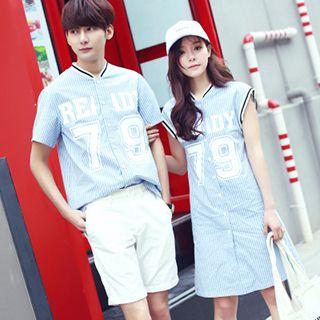 Azure - Couple Matching Printed Stripe Shirt / Shirtdress