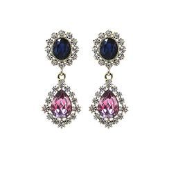 KATENKELLY - Rhinestone Teardrop Earrings (Pink)
