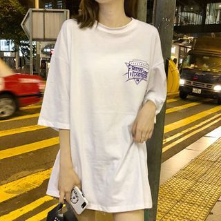 Ashlee - Oversize Elbow-Sleeve Printed T-Shirt