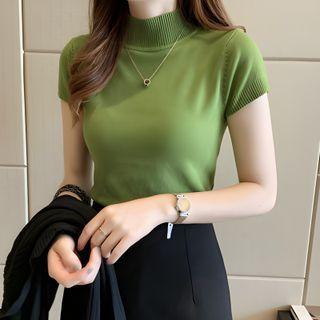 Sancus - Mock-Neck Short-Sleeve Knit Top